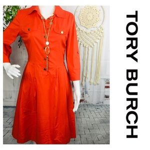 Tory Burch Orange Fit Flare Midi Dress size 4
